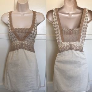 Free People cream tan embroidered Dress 4